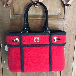 Kate Spade Beantown Quinn Red Wool Tote